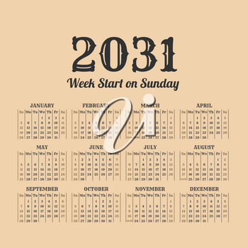 2031 year calendar in the vintage style on a beige background