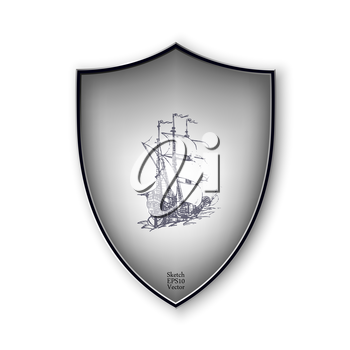 Sailing ship on the shield. Vector format.
