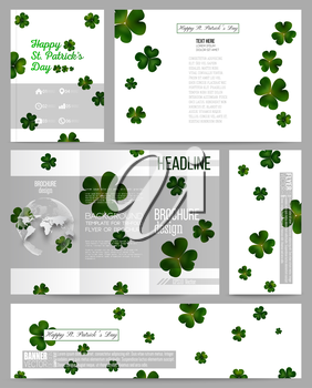 Set of business templates for presentation, brochure, flyer or booklet. St Patricks day vector background, green clovers on white.