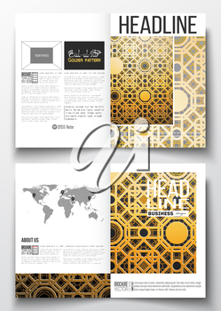 Set of business templates for brochure, magazine, flyer, booklet or annual report. Islamic golden vector texture, geometric pattern, abstract ornament with arabic calligraphy which means -Eid al Fitr-
