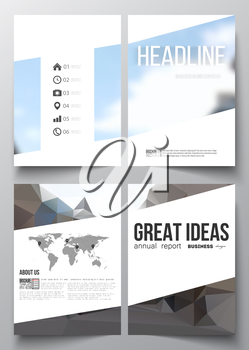 Set of business templates for brochure, magazine, flyer, booklet or annual report. Polygonal background, blurred image, urban landscape, modern stylish triangular vector texture.