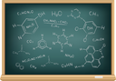 The school blackboard and chalk drawn chemical formula