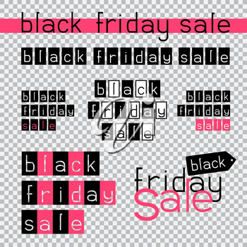 The sales stickers on transparent background. Black friday sell, discount lettering