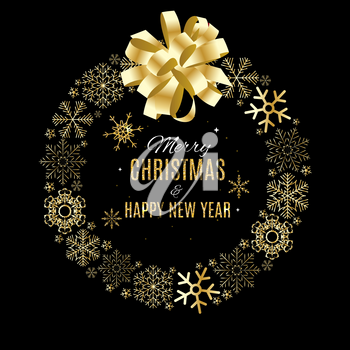 Merry Christmas and New Year Gold Glossy Background. Vector Illustration EPS10