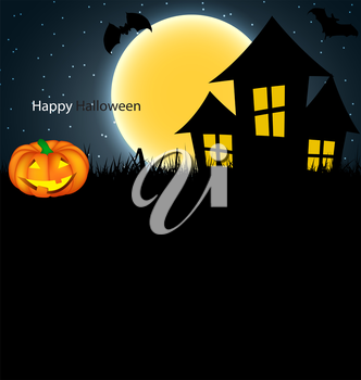 Halloween Background with Pumpkin Vector Illustration. EPS10