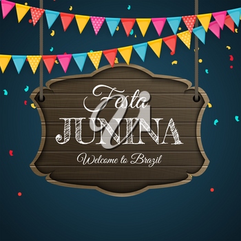 Festa Junina Background with Party Flags. Brazil June Festival Background for Greeting Card, Invitation on Holiday. Vector Illustration EPS10