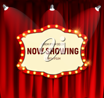 Realistic retro cinema Now Showing announcement board with bulb frame on curtains background. Vector Illustration EPS10