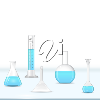 Lab glassware kit on table, chemical tools, 3d vector, eps 10