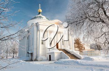 The temple in the historic center of Yaroslavl shot in cold winter