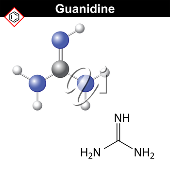 Guanidine structure, chemical formula and model, 2d and 3d  vector illustration, eps 8