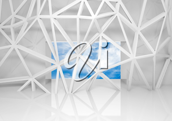 Abstract white room interior with sky in the window and chaotic 3d mesh construction