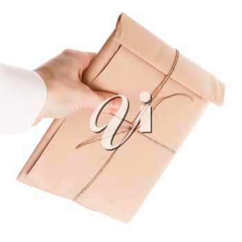 Male hand gives full envelope tied with a rope isolated on white background