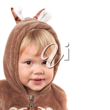Portrait of smiling Caucasian baby girl in bear costume isolated on white