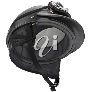 Internal filling of the leather motorcycle helmet with protective ear. 3D graphic object on white background isolated