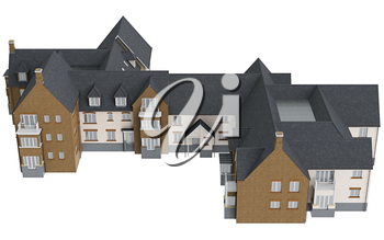 Two storey cottage, top view. 3D graphic isolated object on white background