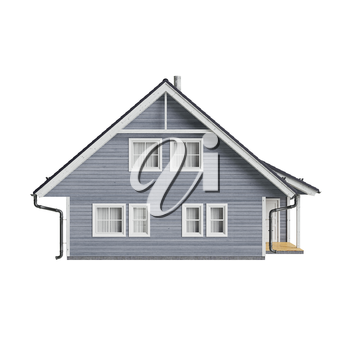 House cottage high roof, front view. 3D graphic isolated object on white background