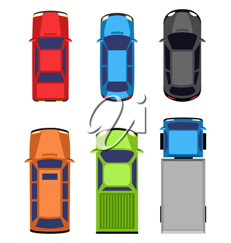 Multicolored car collection isolated on white background