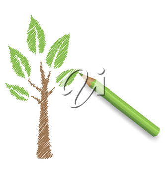 Pencil draws green tree. Eco spring floral background