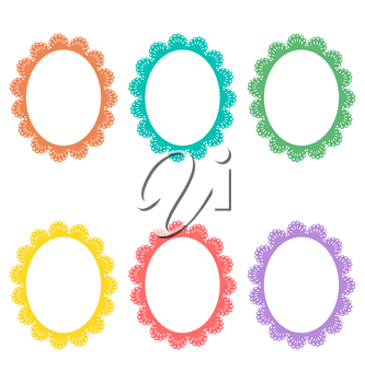 Six lace multicolored frames isolated on white
