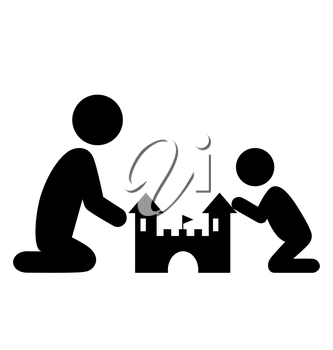 Pictograms Flat Family Icon with Sand Castle Isolated on White Background