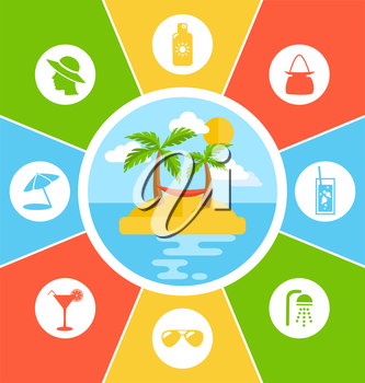 Rules of Conduct in Summer Vacation. Information Vector Brochure