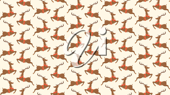 Seamless Christmas Pattern with Santa Reindeers Isolated on Beige Background