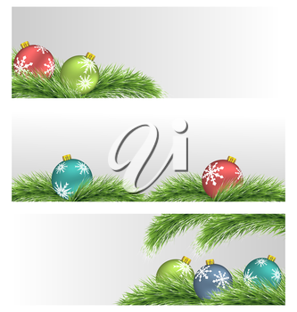 Banners with multicolored Christmas balls on pine branches