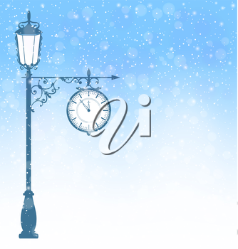Vintage winter lamppost with clock in snowfall on blue background