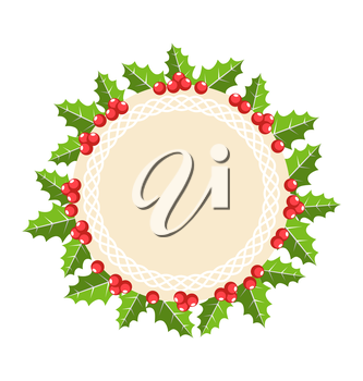 Circle Christmas Label Icon Flat with Holly Sprigs Isolated on White Background
