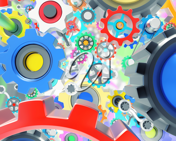 Mechanism of lots of various colorful gears