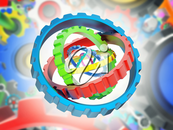 3D mechanism of various colorful gears