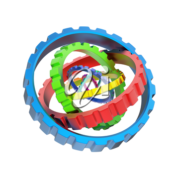 3D mechanism of various colorful gears isolated on white