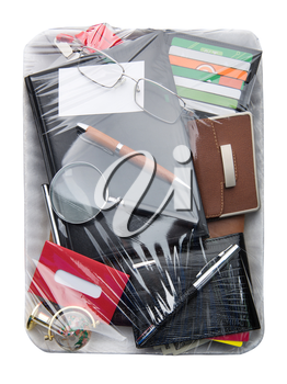 Business objects on Wrapped plastic white food container