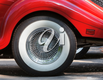 Closeup of retro car wheel