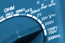 Close-up of a digital multimeter measurement switch