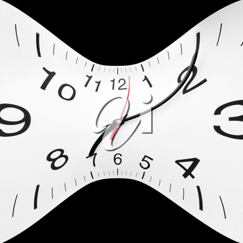 Concept of time wrap. Twisted clock face