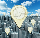 Euro coins money pointers on modern downtown buildings