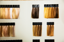 Palette of different colors to hair dye at hairdressing salon.