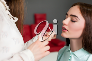 Make up artist applying gloss on woman lips. Professional female beautician work with glamour attractive girl