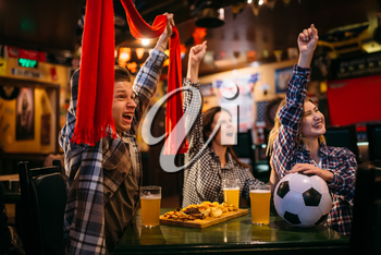 Football fans with scarf watching match and raise their hands up in sports bar. Tv broadcasting, young friends leisures in pub, favorite team wins