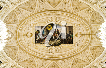 Ornate ceiling with fresco - view from below