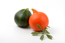 orange and green pumpkins with sprig of sage on white background