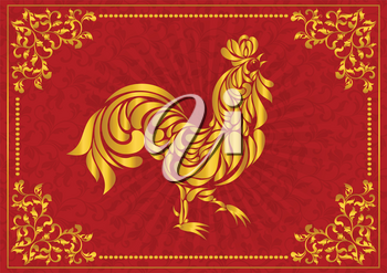 Rooster, symbol of 2017 on the Chinese calendar. Stylized golden cock made of floral ornament