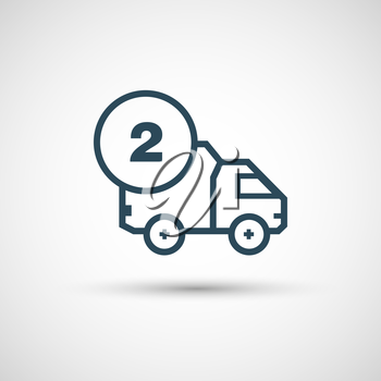 Icon for vehicle delivery services and goods.