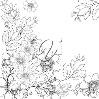 Abstract Background with a Symbolical Flowers, Monochrome Contours. Vector