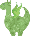 Symbol of holiday East New year of the Dragon, with a green floral pattern. Vector