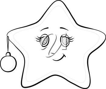 Cartoon, smiley star with holiday Christmas ball and snowflakes, contours, vector