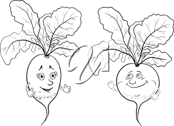 Cartoon vegetables, two character radish, black contour on white background. Vector