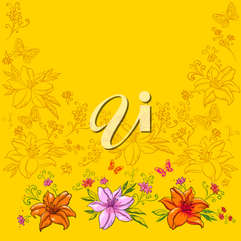 Abstract vector background, flowers lily and butterflies
