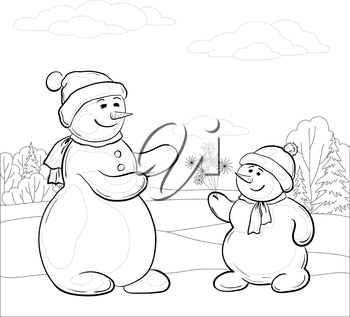 Christmas cartoon, contours: snowmen son gives mom snowy flowers in the winter forest. Vector